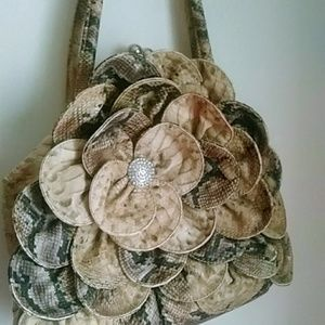 Charming Charlie Snakeskin Flower Handbag Purse